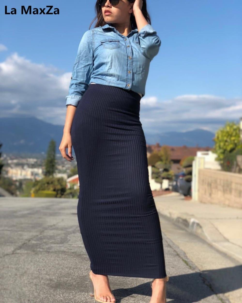 Foulard de tête pour femme jupe longue moulante gaine tricot Maxi longueur cheville vin faldas mujer moda 2019 jupe femme falda crayon sexy jupes de dame