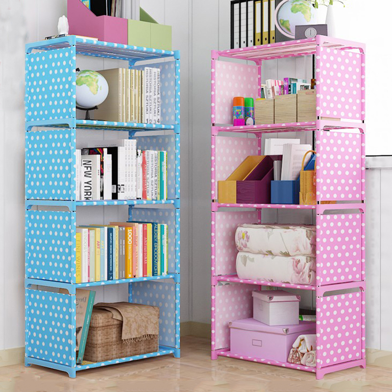 Simple Non woven Home Interior Decoration single row Assembly Stainless Steel Bookshelf Standing fashion Books Storage