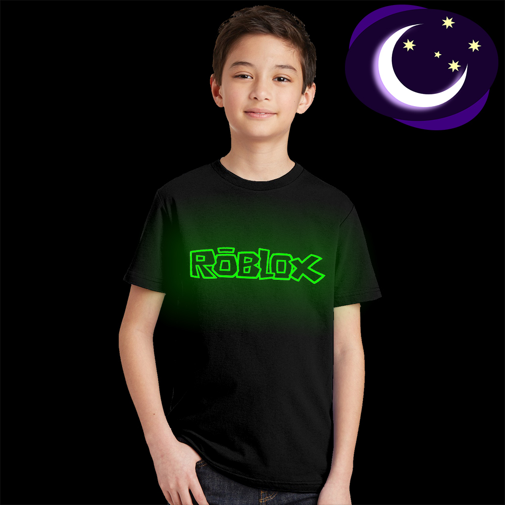 Roblox Letter Children T Shirt Glow In The Dark Luminous Kids Summer Clothes Game T-shirt for Boys Girls Tops Tees Casual Cotton недорго, оригинальная цена