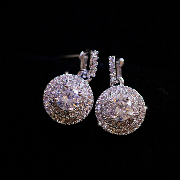SALE 925 Silver Europe Crystal From Swarovskis New Fashion Creative Cz Earrings Classic Retro Micro Set Hot Jewelry