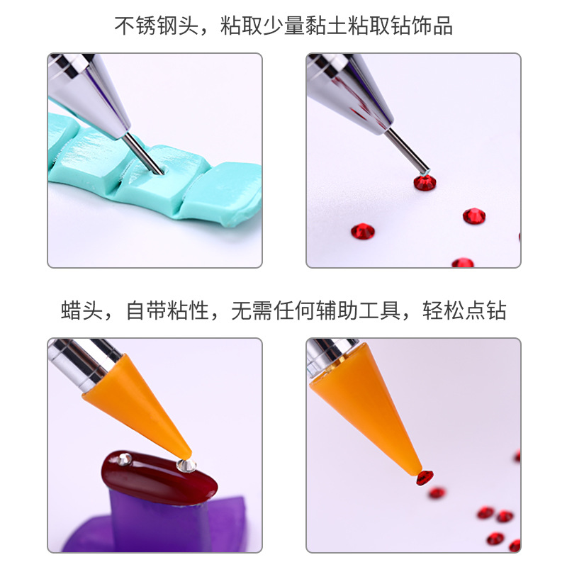 Image 2 - 2019 New Nail Point Drill Tool Acrylic Double Head Drill Crayon Multi Function Wax Head Point Drill Nail Pen-in Dotting Tools from Beauty & Health