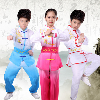 Children's Performance Clothing Chinese Kung Fu Longsleeved Dance Clothes Boys and Girls Autumn and Winter Martial Arts Training stainless steel telescopic sword performance sword kung fu swords taiji martial art martial arts training telescopic sword