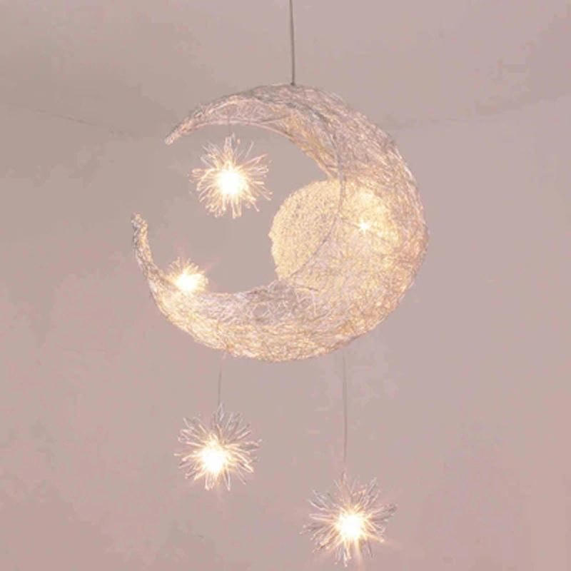 LED G4 light source, Moon & Star - modern Children Kid Child Bedroom novelty Pendant Lamp Chandelier Light Ceiling Aluminum