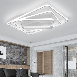 Image 5 - Modern led Chandelier for Living room Bedroom Aluminum Wave Rectangle circle lustre Chandelier Lightin high ceiling Chandelers