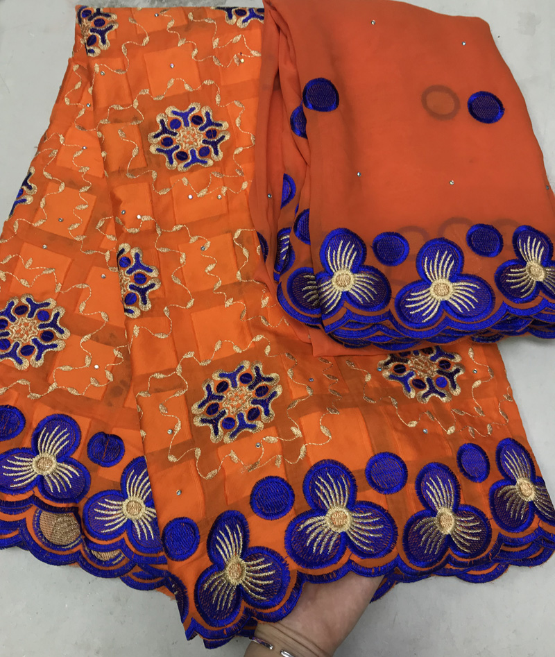 5+2yards/set high grade Swiss voile lace fabric orange and blue African cotton lace fabric plus chiffon lace set for party DBL125+2yards/set high grade Swiss voile lace fabric orange and blue African cotton lace fabric plus chiffon lace set for party DBL12