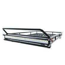 Portaequipajes de Metal con foco LED para coche de juguete, trepador de coche de control remoto, TRX4, Bronco, Cherokee, Wrangler, Axial, Scx10, TF2, CC01, 1/10