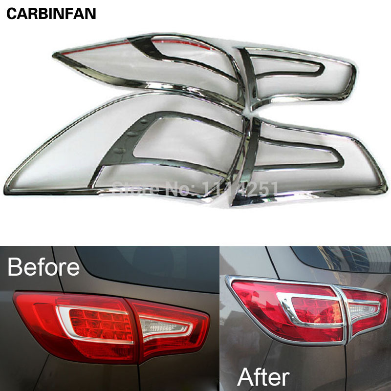 Free shipping ABS Chrome Rear Tail Light Lamp Cover Trim 2Pcs Set For 2010 2011 2012