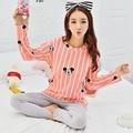 Новое Прибытие Мультфильм женская одежда домашняя одежда набор полосатые пижамы хлопка с длинным рукавом pijama женский домашней одежды плюс XXL