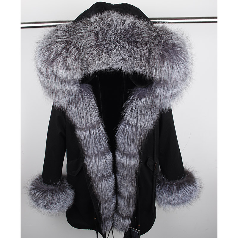 2019 Winter Natural Real Fox Fur Jacket Coats Women Fashion Real Fur Coat Long   Parkas   Black   Parka   Streetwear Casual Outerwear