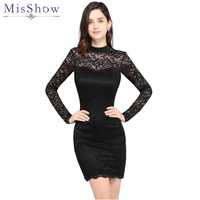 In stock Black Short Cocktail Dresses Women Lace Bodycon Part Club Dress Short Mini Long Sleeve Robe de Cocktail 2019 Prom Dress