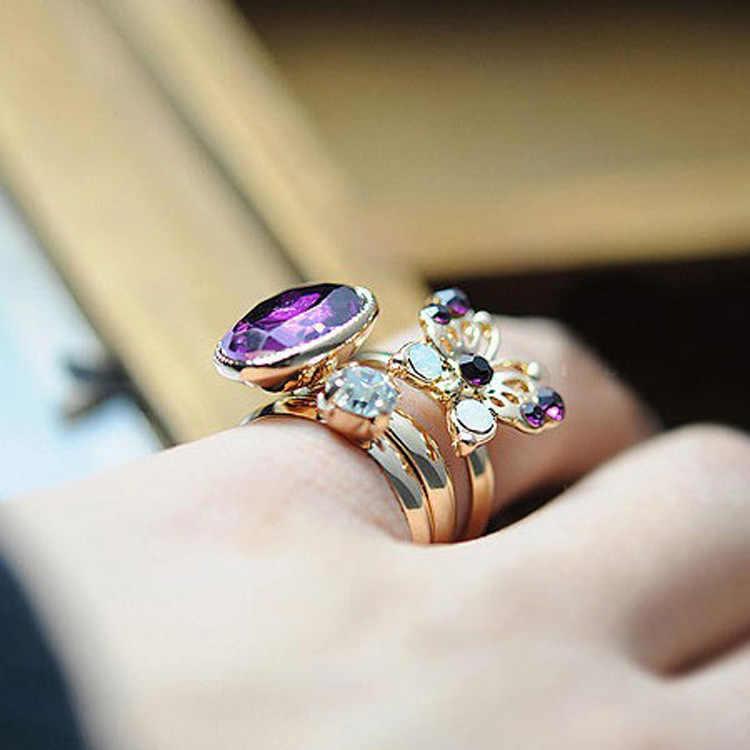 3ชิ้นMidi K Nuckleชุดแหวนทองคริสตัลฮอลโลว์ผีเสื้อเปิดแหวนปรับR Hinestoneเพทายหญิงสาวกลางนิ้วเครื่องประดับ