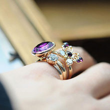 3pcs Midi Knuckle Rings Set Gold Hollow Crystal Butterfly Open Ring Adjustable Rhinestone Zircon Women Girls Mid Finger Jewelry(China)