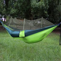 Portable High Strength Parachute Fabric Camping Hammock Hanging Bed With Mosquito Net Sleeping Hammock Outdoor Sleeping