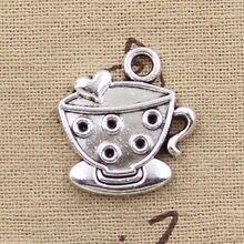 10 pçs encantos uma xícara de café 25x22mm antigo prata cor chapeado pingentes fazendo diy artesanal tibetano prata cor jóias