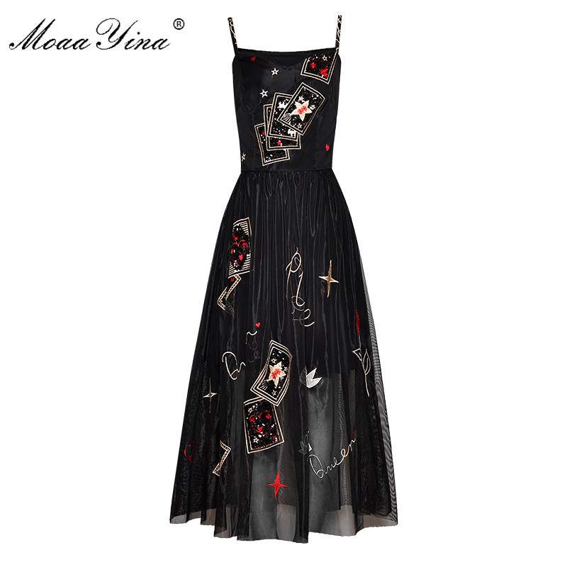MoaaYina Fashion Designer Runway dress Spring Summer Women Dress Spaghetti strap Embroidery Sequin black Party Elegant