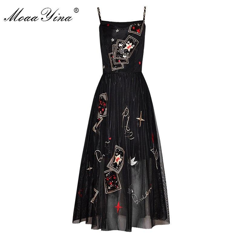 Moaayina 패션 디자이너 런웨이 드레스 봄 여름 여성 드레스 스파게티 스트랩 자수 스팽글 블랙 파티 우아한 드레스-에서드레스부터 여성 의류 의  그룹 1