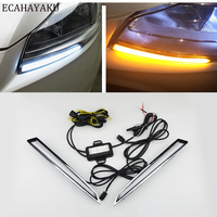 ECAHAYAKU 1Pair led Daytime Running Light DRL daylight for Ford Kuga Escape2013 2014 2015 with yellow turn signal fog light