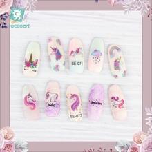 Rocooart Eenhoorn Nail Stickers Voor Vrouwen Leuke Elementen Zelfklevende Folie Nail Art Wraps Bloemen Nail Art Decoratie Meisjes Nail Decal