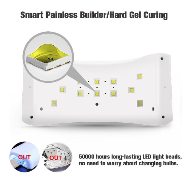 36W UV Nail Dryer Dual UV LED Nail Lamp Gel Polish Curing Light Lamp Double Power 99s Digital Timer Nail Art Tools Sun 9x Plus 2