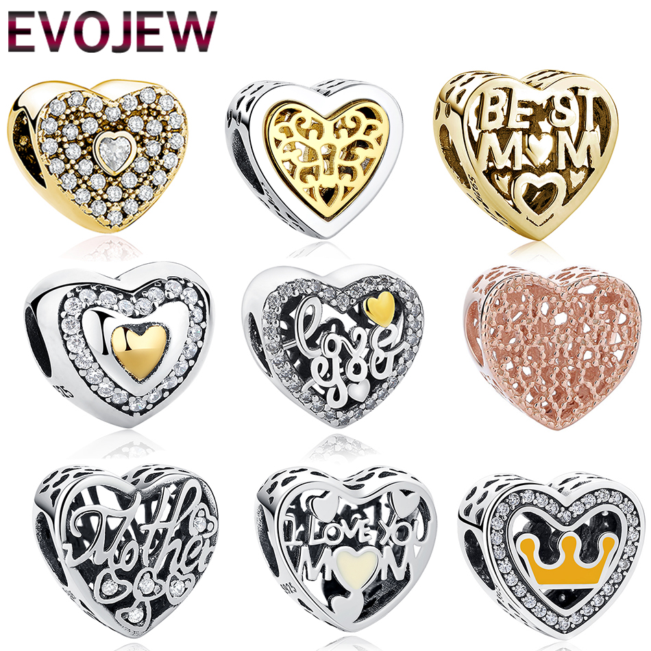 цена на 925 Sterling Silver Charm Beads Fit Original Pandora Bracelets Two Tone Gold & Silver Heart Shape Bead With Clear CZ DIY Jewelry
