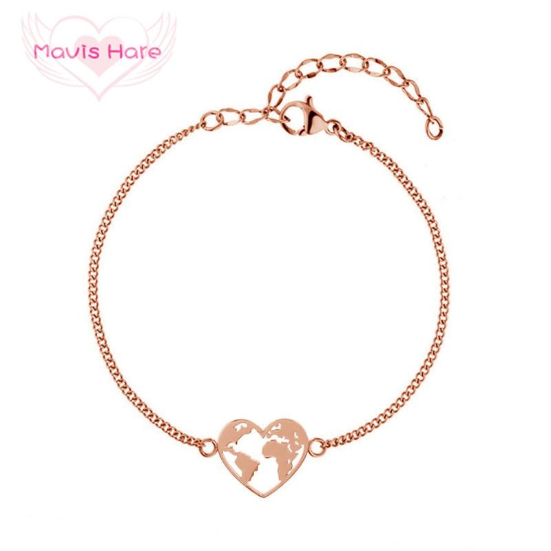 Mavis Hare Reisen die Welt Armband Herz Form Welt Karte Edelstahl Armband für Tropfen verschiffen als Valentines Geschenk