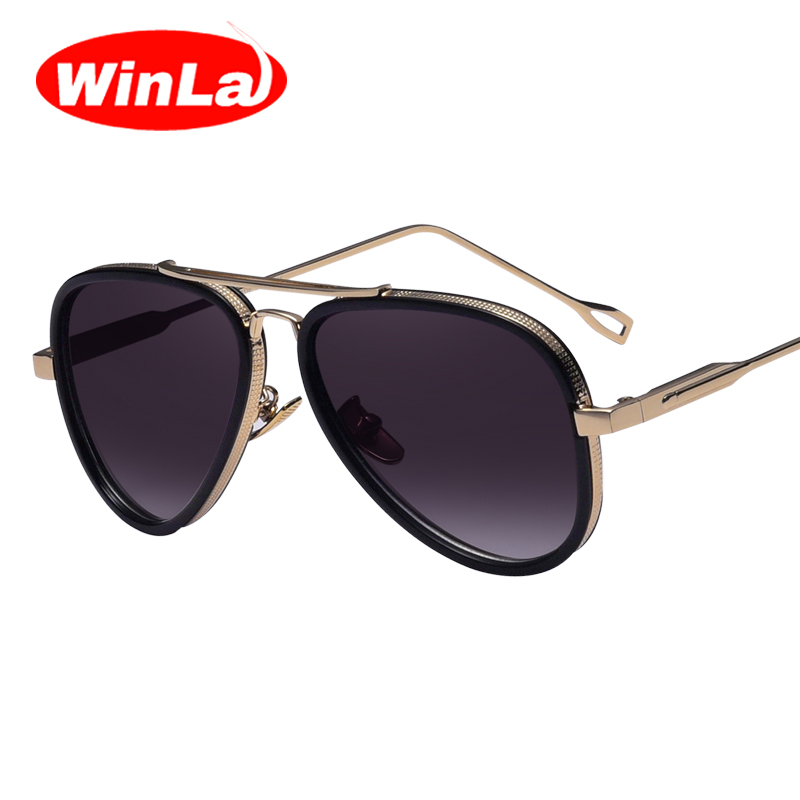 8cf1423bc Winla الكلاسيكية العلامة التجارية تصميم نمط النظارات الشمسية للنساء الإطار  المعدني طلاء الملونة مرايا اكسسوارات نظارات شمسية الإناث UV400