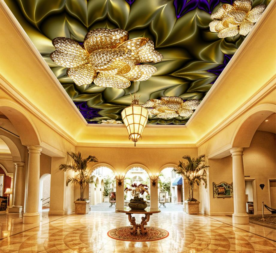 Ceiling Murals Wallpaper Luxury Three-dimensional Jewelry flowers Photo Wallpapers Non-woven Room 3D Ceiling Wallpaper ceiling non woven wallpapr home decoration wallpapers for living room 3d mural wallpaper ceiling customize size