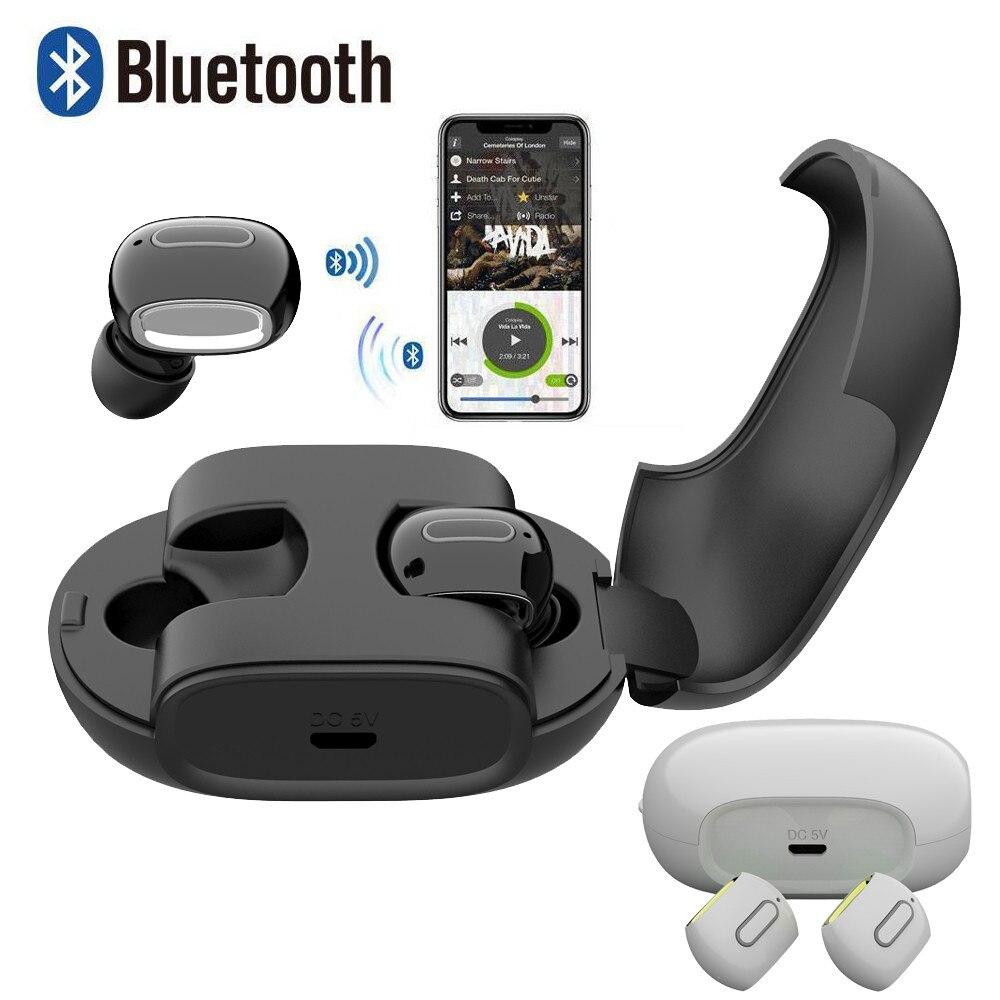 Wireless Earbuds Bluetooth Headphones Earphones with Microphone Charging Box Earbuds Bass Earphones for iPhone 6 6S Xiaomi 2018