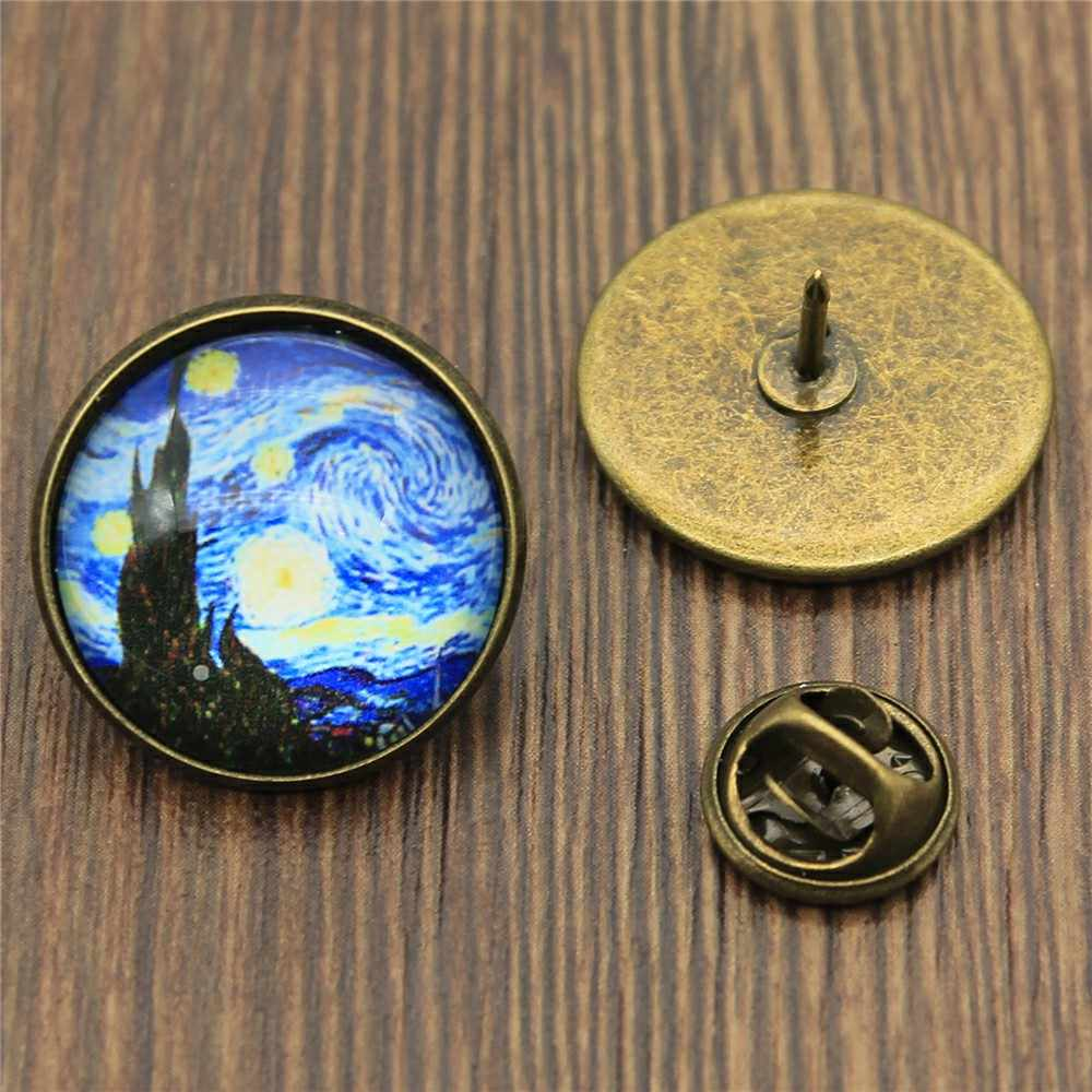 2 Warna Fashion Van Gogh Starry Night 20 Mm Kaca Cabochon Bros Pin Wanita Korsase Lencana Gaun Mantel Aksesoris