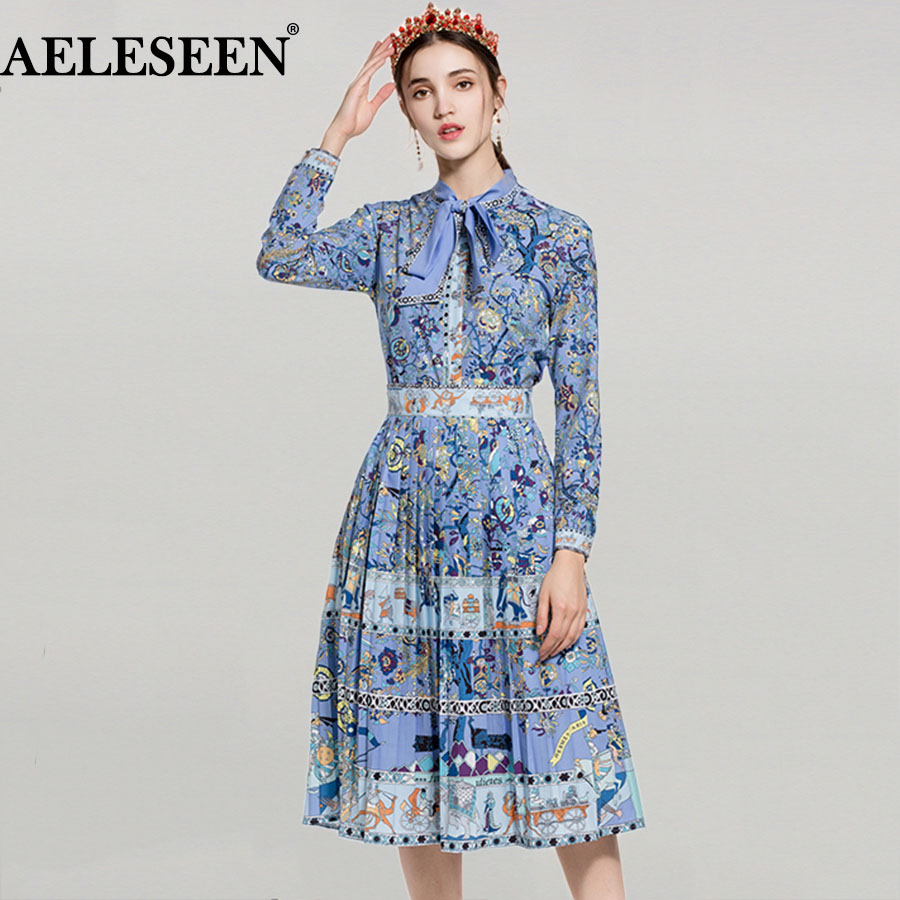 Spring Novelty Ladies Suits 2018 Top Fashion Full Lantern Sleeve Floral Print Bow Exquisite Blouse Runway