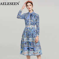 Spring Novelty Ladies Suits 2018 Top Fashion Full Lantern Sleeve Floral Print Bow Exquisite Blouse + Runway Pleated Skirt Sets