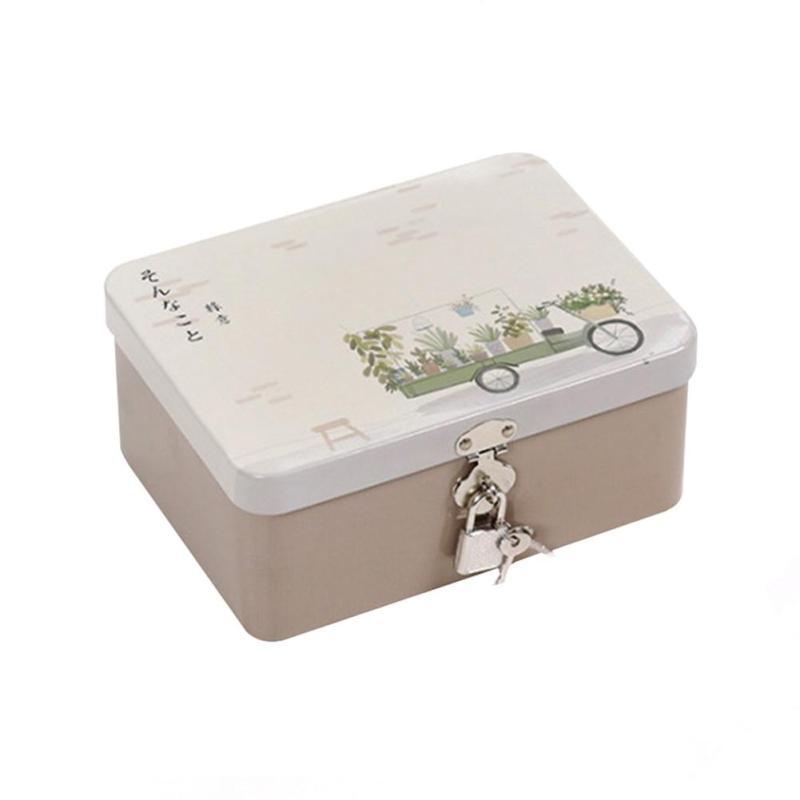 Tin Storage Box Lockable Small Finishing Box Cosmetics Jewelry Desktop Organizer Box With Lock Password Case Sundries Box 3