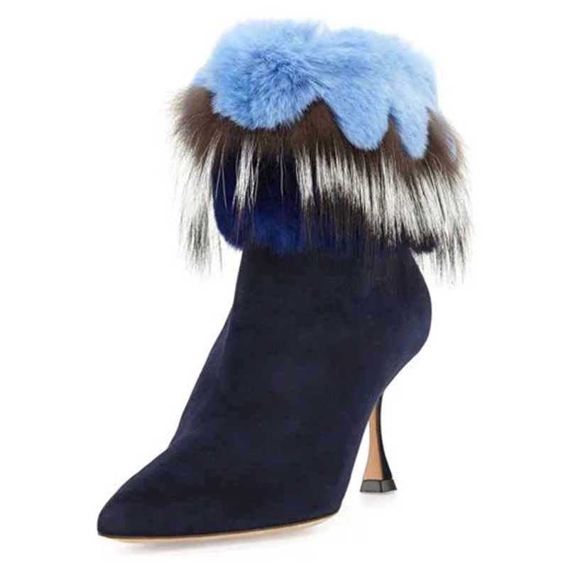 Snow Boots Shoes Woman Autumn and Winter High Heels Women Boots Female Thick Heel Genuine Leather Ankle Boots Fur Short Boots new autumn winter warm women shoes snow boots square high heels artificial leather top casual female elastic band ankle shoes