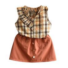 Toddler Kids Baby Girls  Summer Clothes Plaid Vest Shirt Tops+Short Skirt Fashion Outfits Set