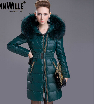 Freeshipping 2015 Fashion Winter Thickening  Women Slim Medium-long Luxury Large Fur Collar Down Coat Female Outwear Overcoat