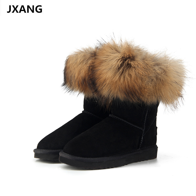 JXANG Fashion Women's Natural Real fox Fur Snow Boots 100% Genuine Cow Leather women Boots Female Warm Winter Boots Shoes 2017 new women natural color real silver fox fur cap kenmont genuine female russia winter warm hat skullies