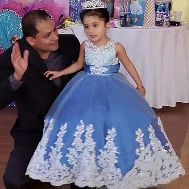 Bleu Royal fleur fille robes pour mariage cendrillon filles robe princesse enfants fête robe de bal première Communion robe