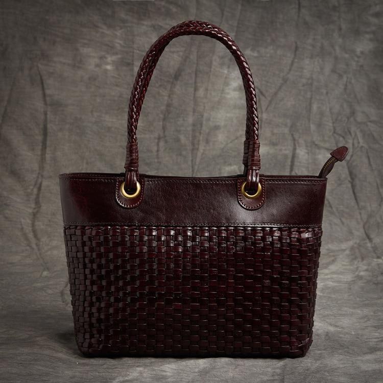 Damen Aus 2 Frauen Schulter Kapazität Stil Große Luxus Weibliche Handtaschen 2018 Waven Echtem Retro Leder Taschen 1 Tasche Mode Neue 4XREUqqna
