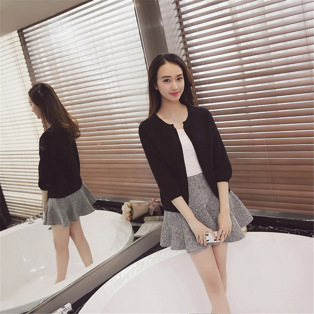 2016 Spring&Autumn Casual Sweater Women Cardigan Sweater Solid Color Open Stitch Women\'s Cotton Knitted Outerwear Sweater (7)