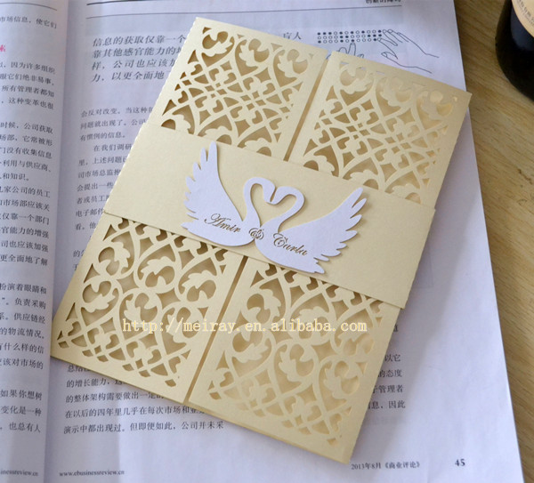 Aliexpress Buy Swan Invitations Wedding Card Designs 2015laser Cut Blank Wedding