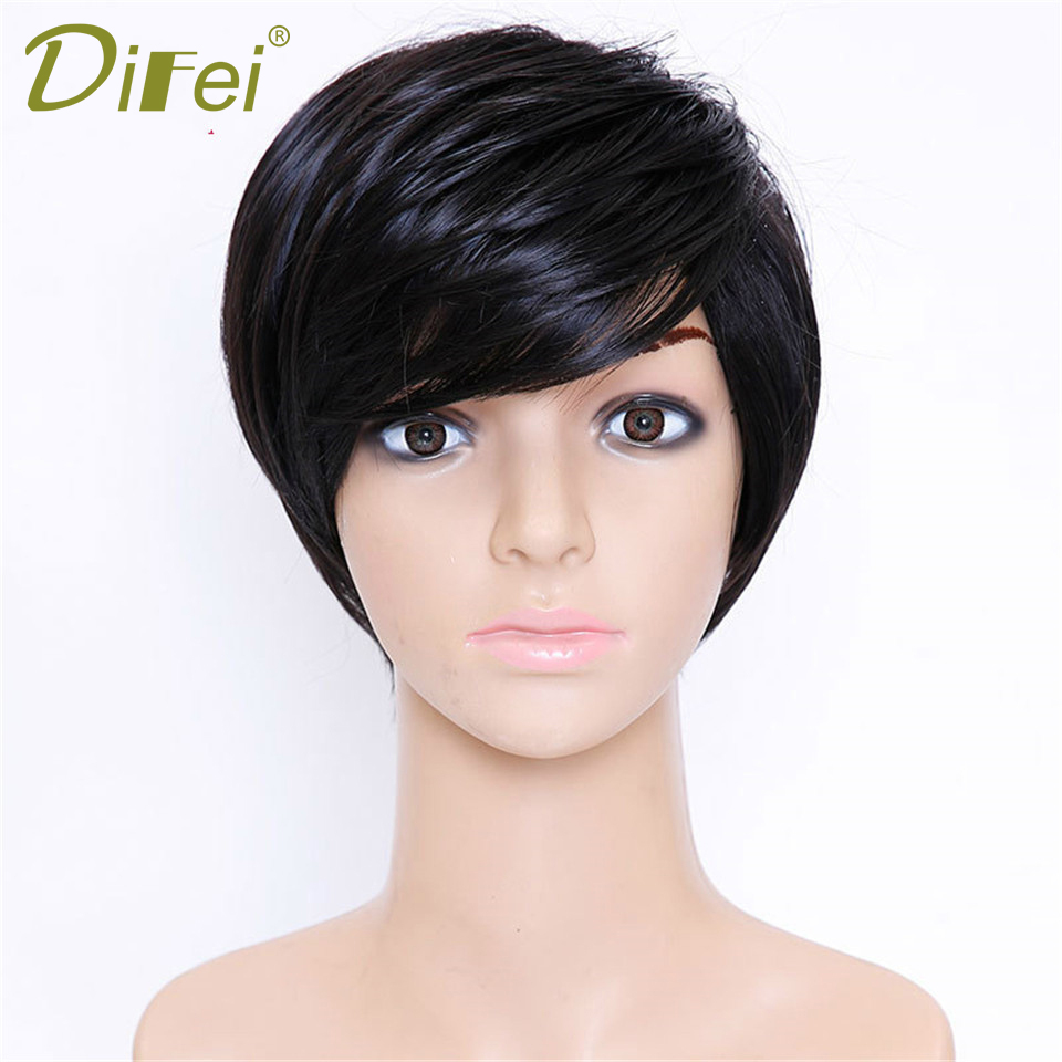 DIFEI Short Hair Black Heat Resistant Synthetic High Temperature Fiber Wig Cosplay Wig  Afro Kinky