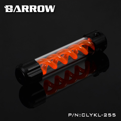 Barrow Aluminum Orange VIRUS T cylinder water reservoir water tank 255mm computer water cooling UV Lighting included CLYKL255 390mm cylinder water tank sc600 pump all in one set maximum flow 600l h computer water cooling radiator