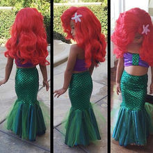 summer girls dress the Cute mermaid tail princess ariel dress cosplay costume for girl fancy green