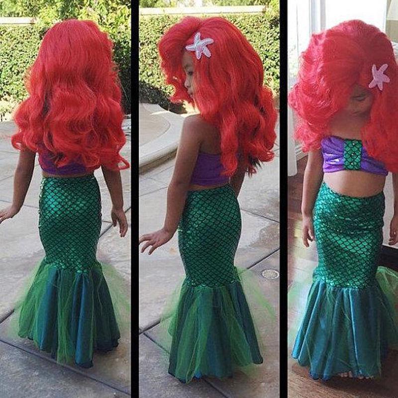 summer girls dress the little mermaid tail princess ariel dress cosplay costume for girl fancy green dress hot sell fashin wigs mermaid wig adult princess ariel red wavy cosplay costume big