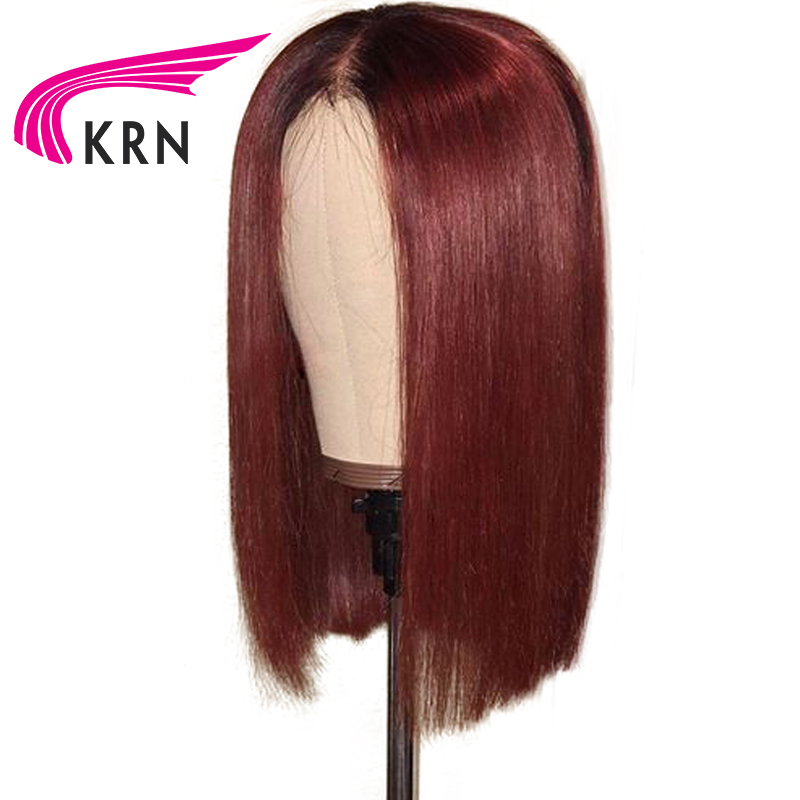 KRN 1B 99J Ombre Short Bob Lace Front Human Hair Wigs With Baby Hair Remy 13X3
