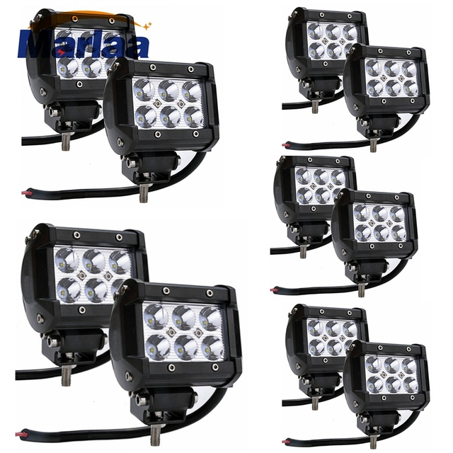 "5 Pairs 10Pcs 4"" Inches Flood Beam Spot Beam Off Road 18w LED Work Light Bar 4wd Boat Driving ATV Car"