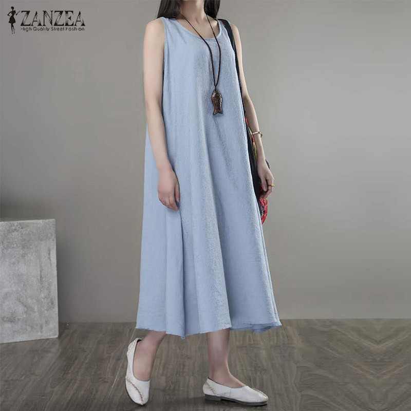 Oversized 2018 Summer ZANZEA Women Casual Loose Dress Ladies Retro O Neck Sleeveless Mid-calf Solid Dresses Vestidos Plus Size