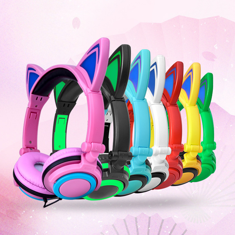 SIFREE Cat Ear Headphones with LED Light Cute Cat Ear Flashing Glowing Headset for Girls Foldable Gaming Headset for PC iPhone