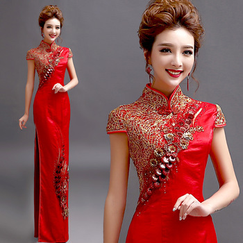 chinese traditional cheongsam embroidery dress embroidered wedding red lace modern woman long qipao sexy oriental formal satin