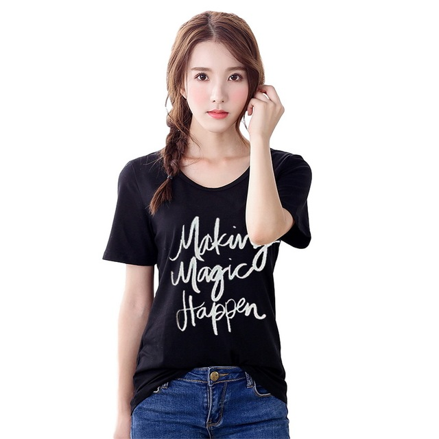 6e8e5e70f4d Women T shirt Summer Korean Style Casual Lady Short Sleeve Top Tee Happy  Letter Printing Woman Tops Loose Plus Size Clothing